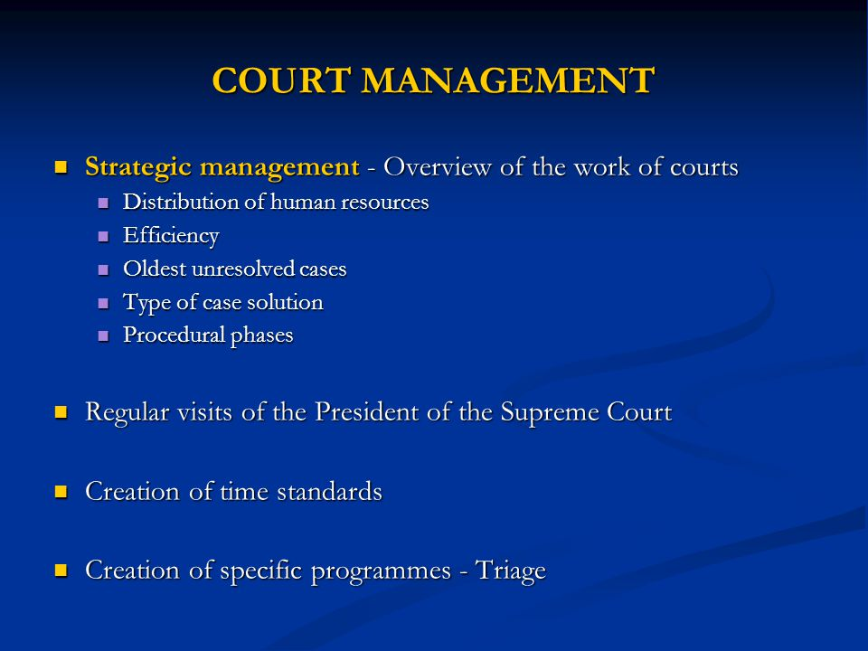COURT MANAGEMENT Strategic management - Overview of the work of courts