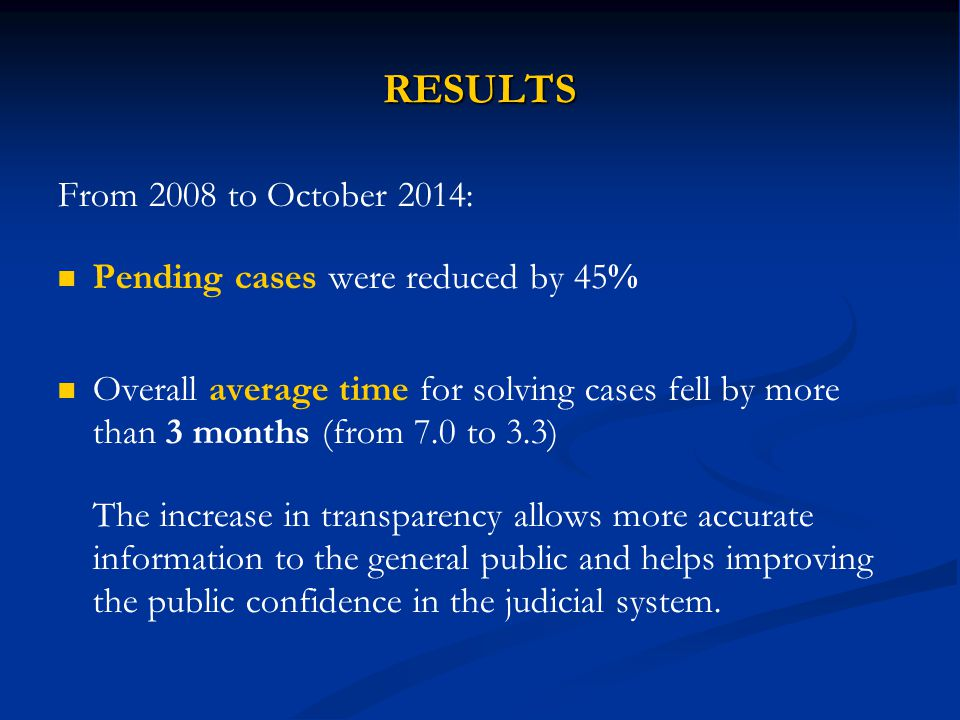 RESULTS From 2008 to October 2014: Pending cases were reduced by 45%