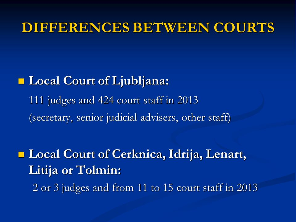 DIFFERENCES BETWEEN COURTS