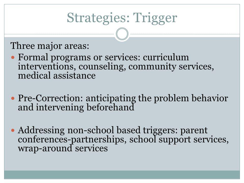 Strategies: Trigger Three major areas: