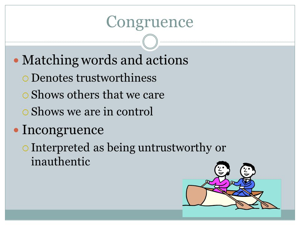 Congruence Matching words and actions Incongruence