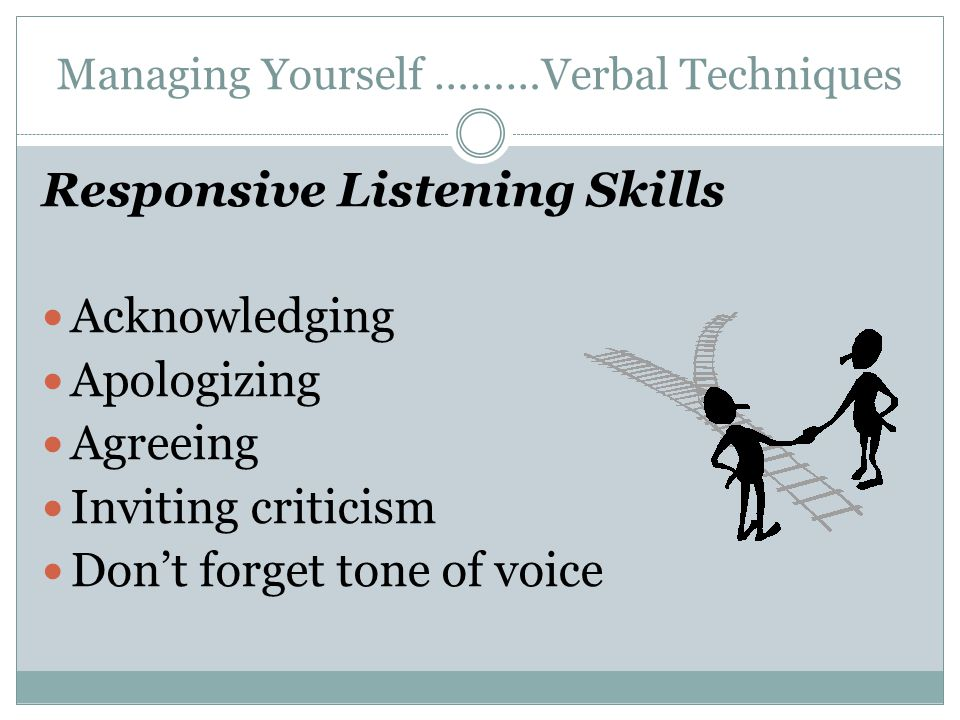 Managing Yourself ………Verbal Techniques