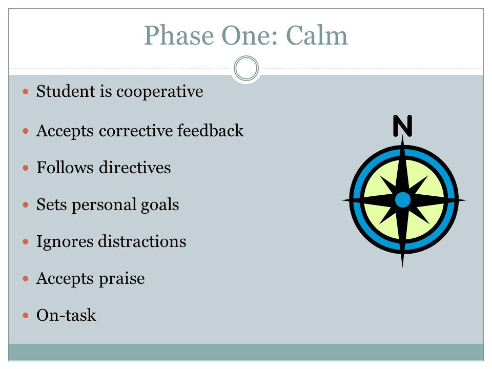 Phase One: Calm Student is cooperative Accepts corrective feedback