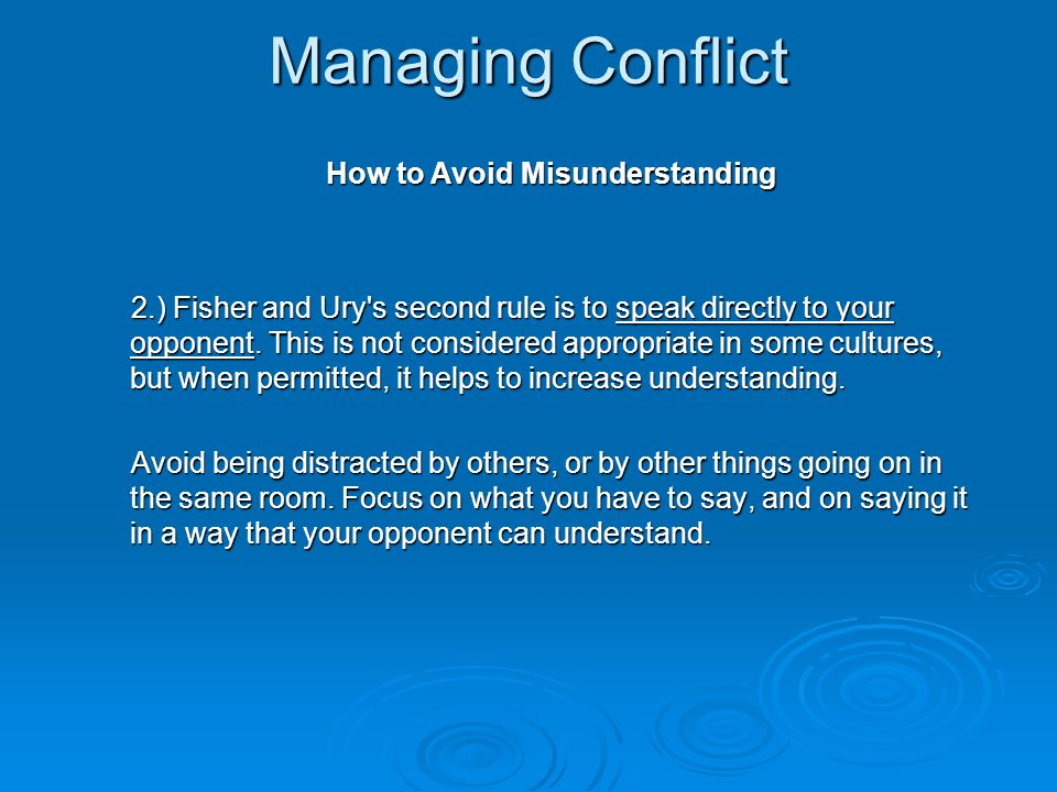 Managing Conflict How to Avoid Misunderstanding