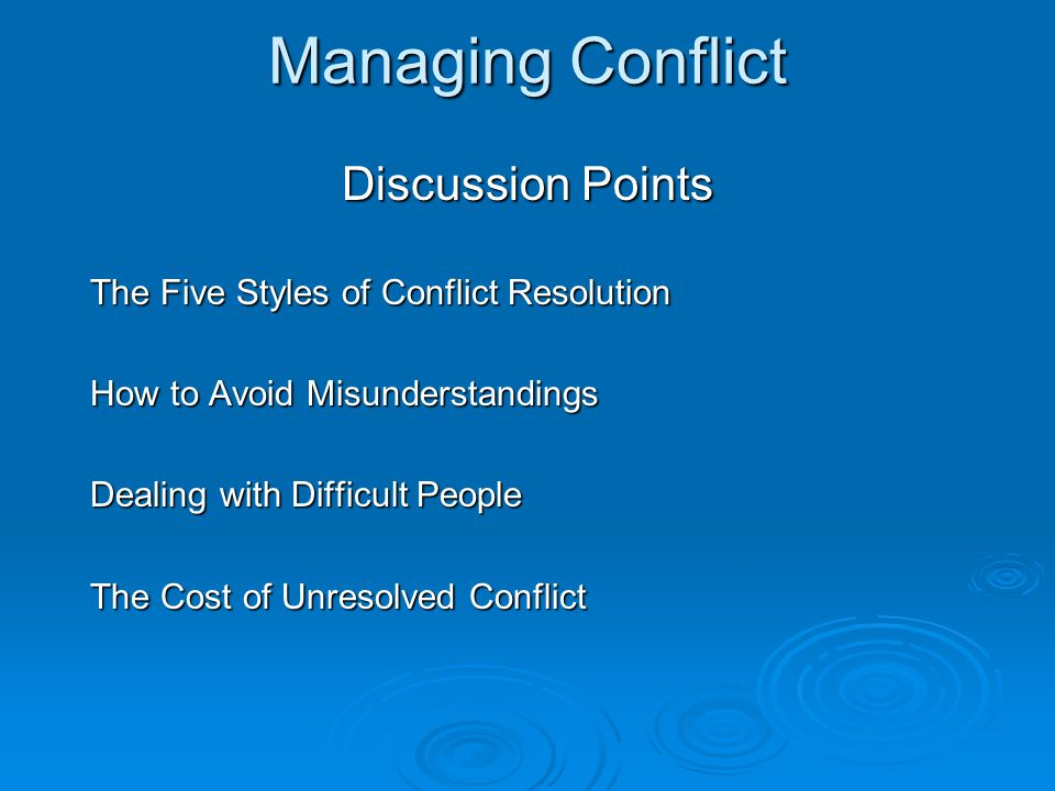 Managing Conflict Discussion Points