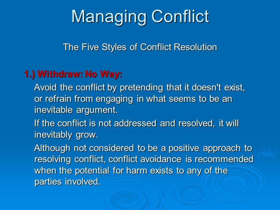 The Five Styles of Conflict Resolution