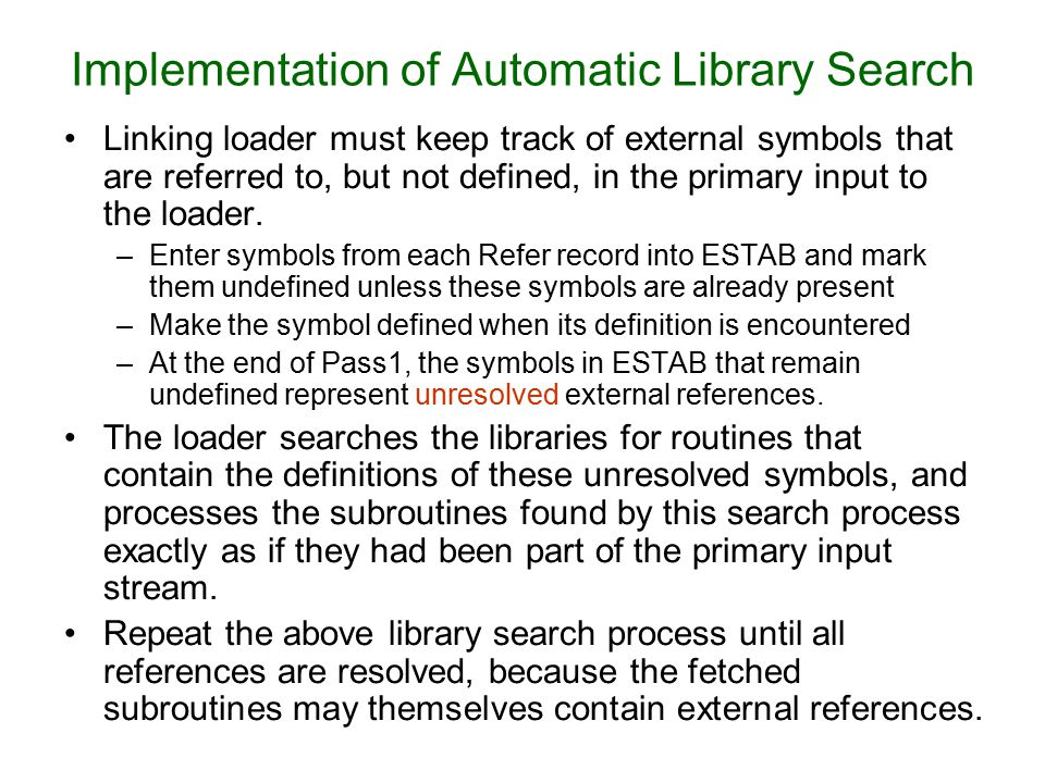 Implementation of Automatic Library Search