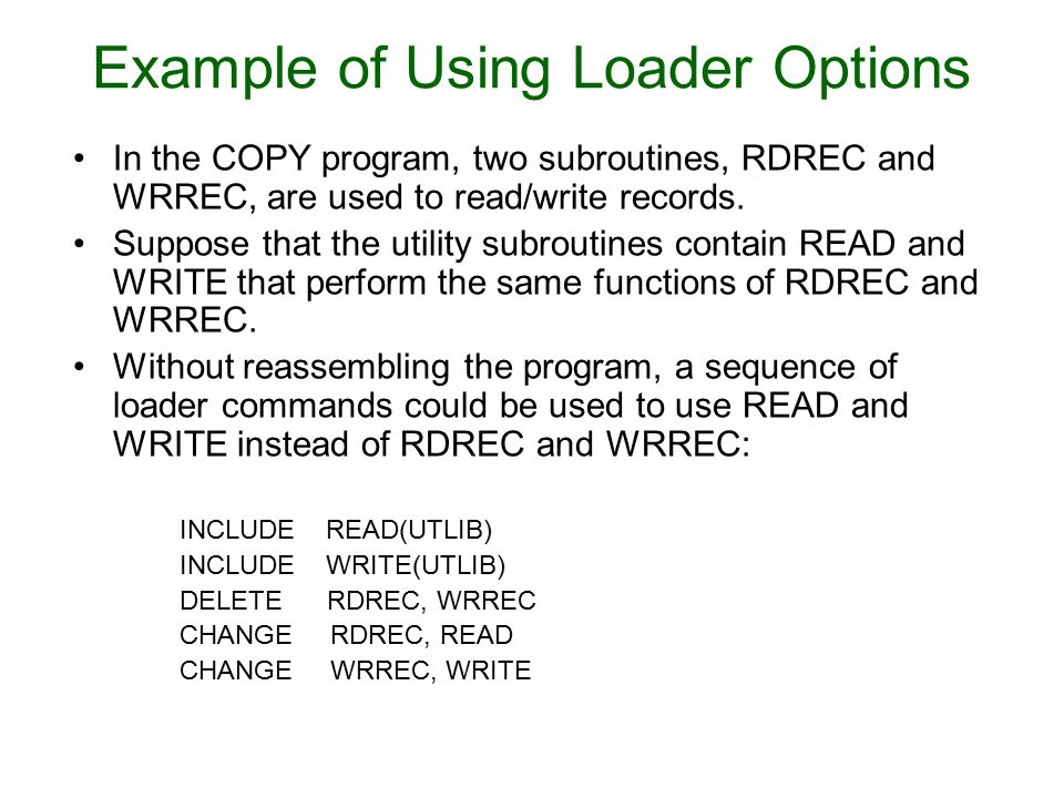 Example of Using Loader Options