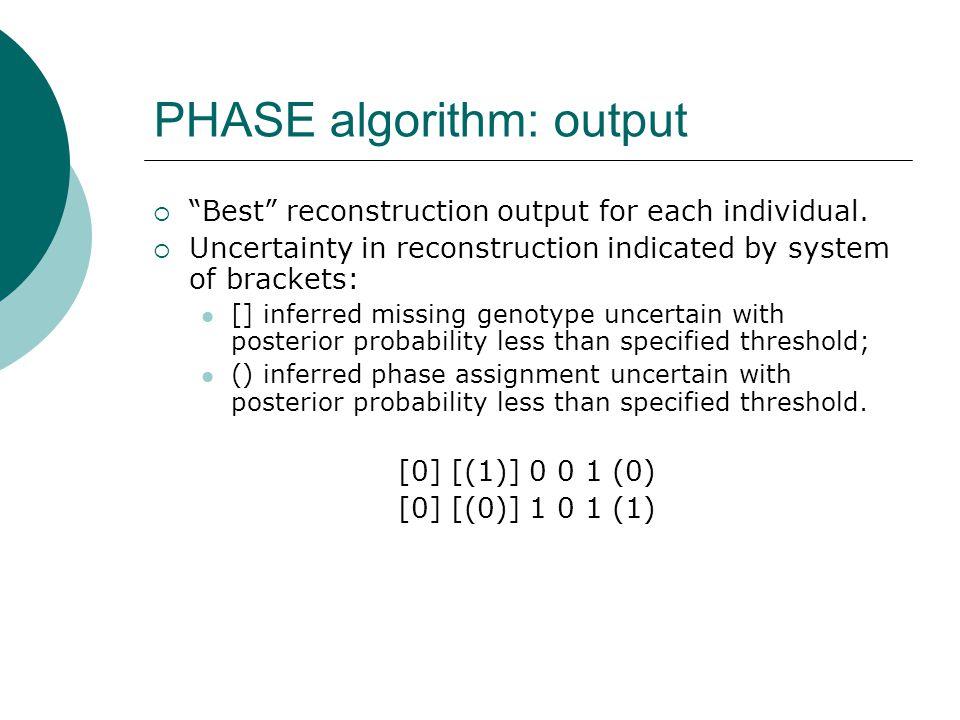PHASE algorithm: output