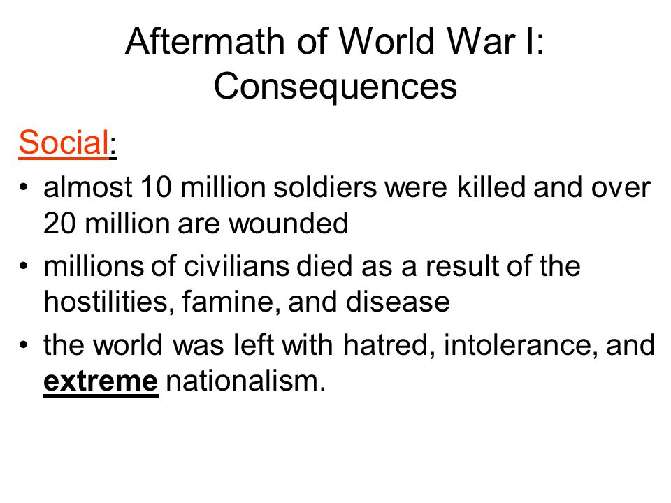 Aftermath of World War I: Consequences