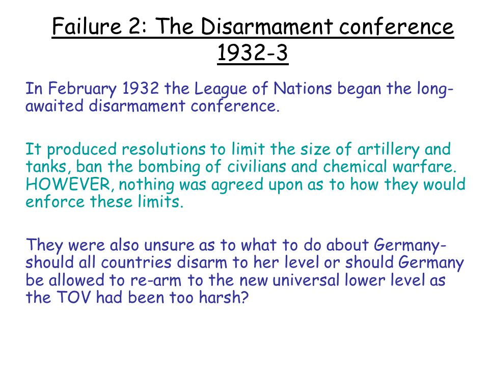 Failure 2: The Disarmament conference 1932-3