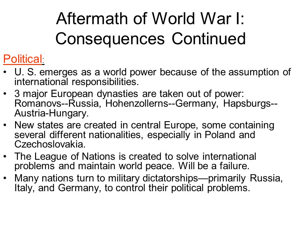 Aftermath of World War I: Consequences Continued