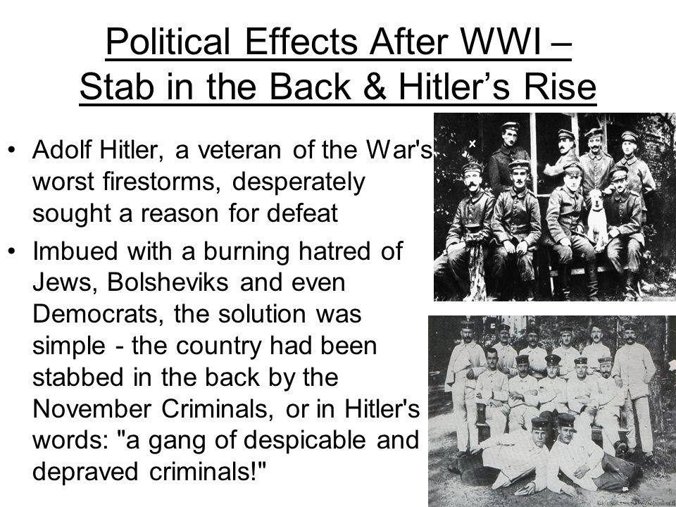 Political Effects After WWI – Stab in the Back & Hitler's Rise