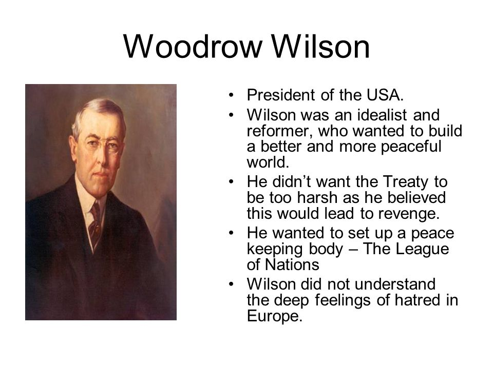Woodrow Wilson President of the USA.
