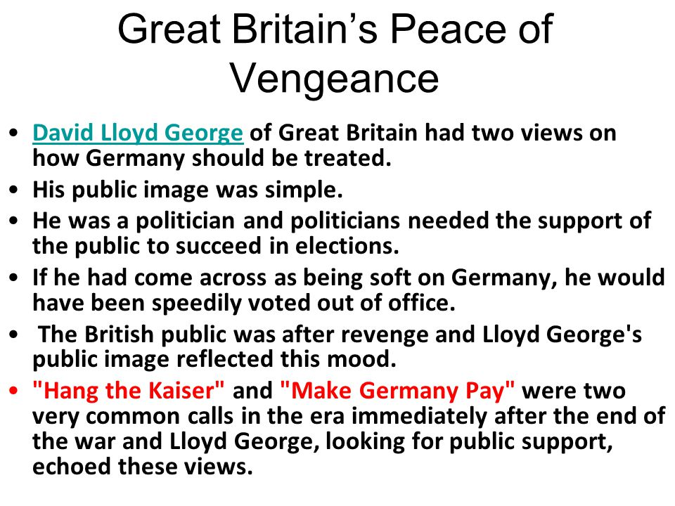 Great Britain's Peace of Vengeance