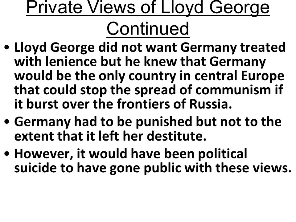 Private Views of Lloyd George Continued
