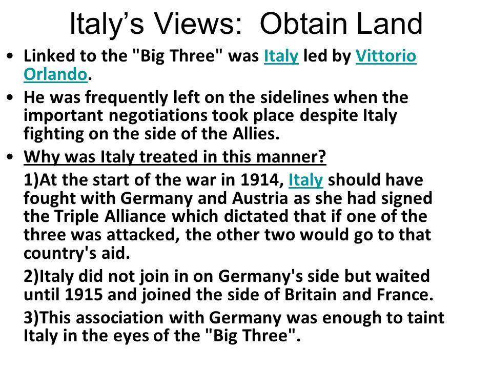 Italy's Views: Obtain Land