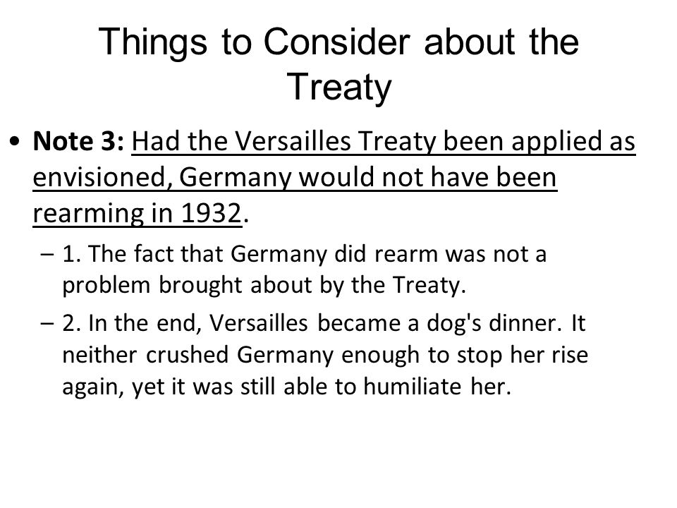 Things to Consider about the Treaty