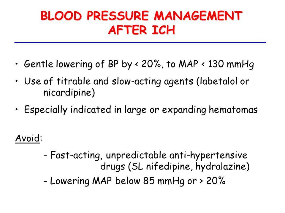 BLOOD PRESSURE MANAGEMENT AFTER ICH