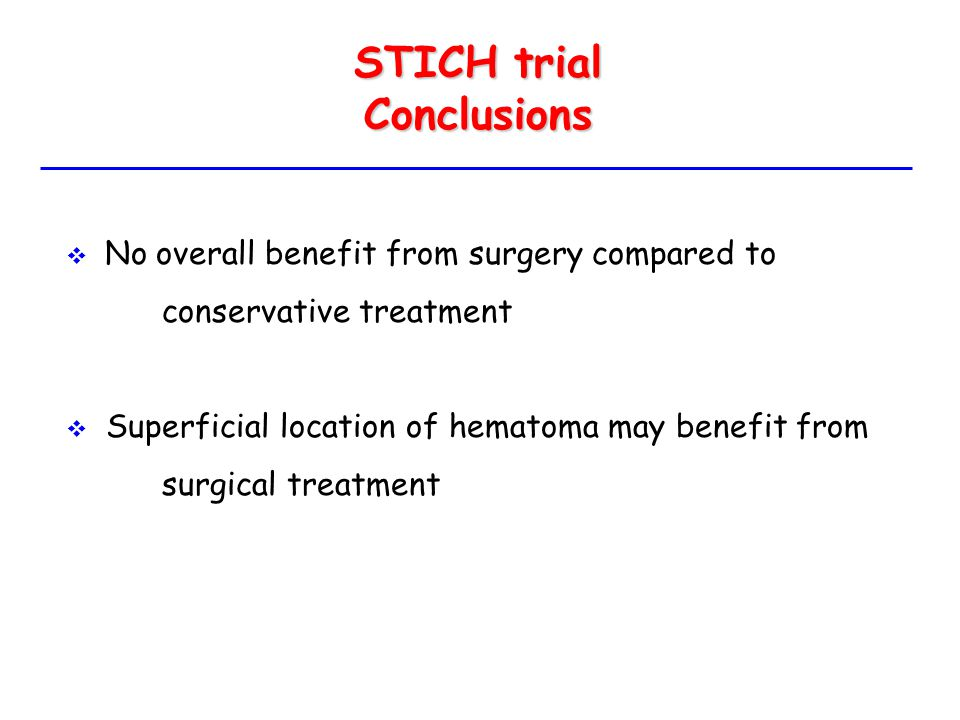 STICH trial Conclusions