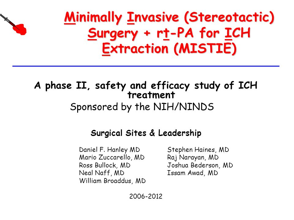 Minimally Invasive (Stereotactic) Surgery + rt-PA for ICH Extraction (MISTIE)