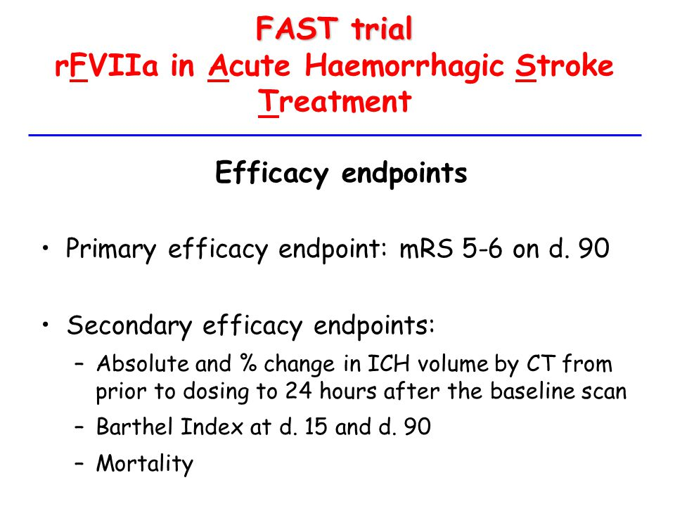 FAST trial rFVIIa in Acute Haemorrhagic Stroke Treatment