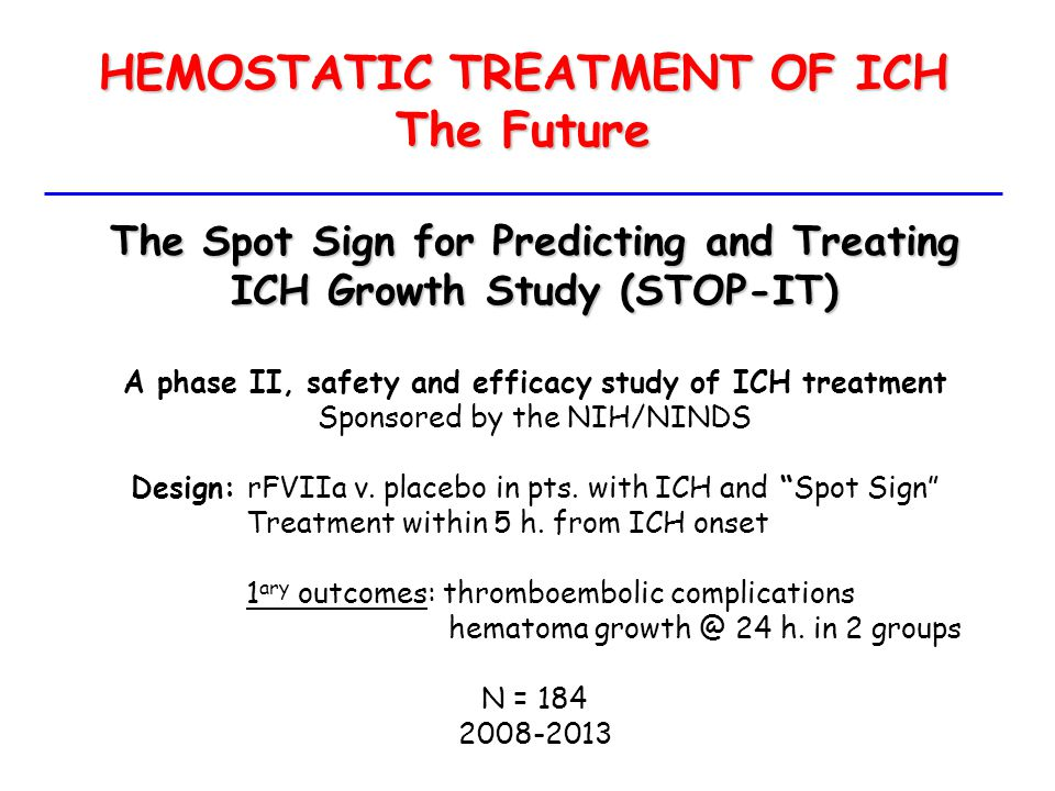 HEMOSTATIC TREATMENT OF ICH The Future