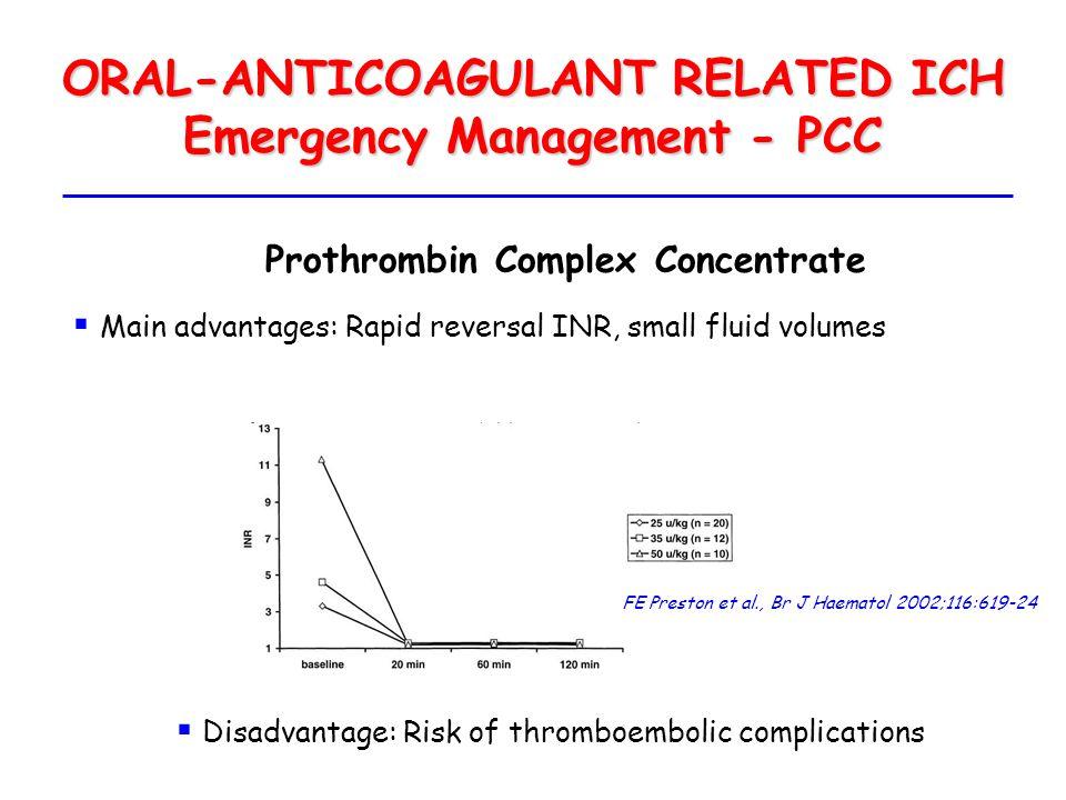 ORAL-ANTICOAGULANT RELATED ICH Emergency Management - PCC