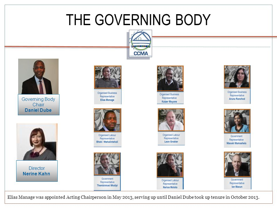 THE GOVERNING BODY Governing Body Chair Daniel Dube Director