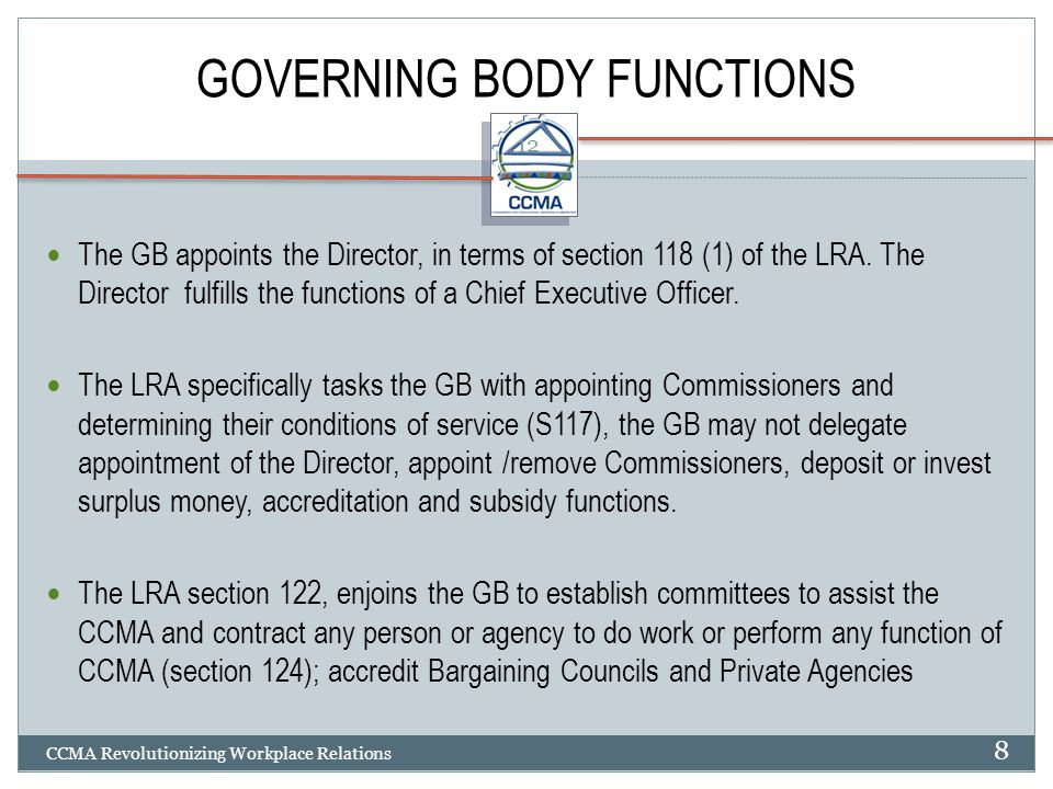 GOVERNING BODY FUNCTIONS