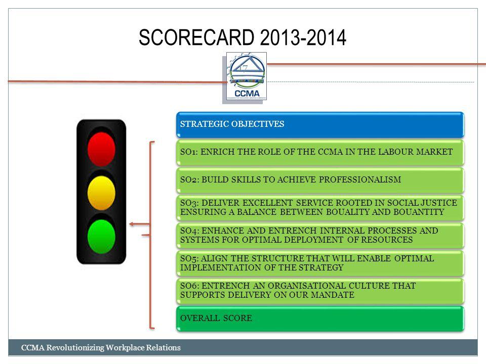 SCORECARD 2013-2014 CCMA Revolutionizing Workplace Relations