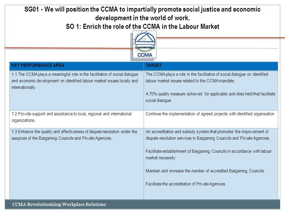 SG01 - We will position the CCMA to impartially promote social justice and economic development in the world of work. SO 1: Enrich the role of the CCMA in the Labour Market
