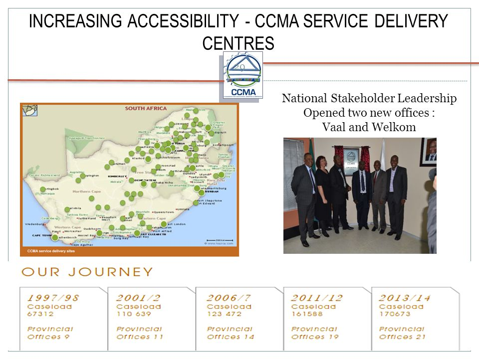 INCREASING ACCESSIBILITY - CCMA SERVICE DELIVERY CENTRES