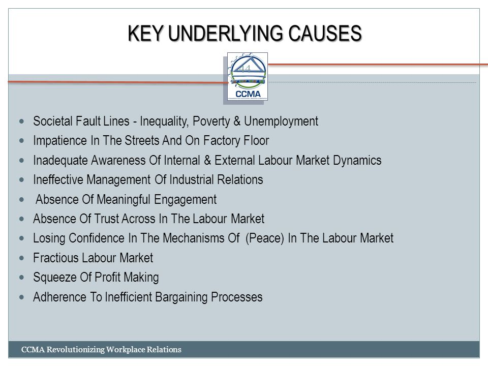 KEY UNDERLYING CAUSES Societal Fault Lines - Inequality, Poverty & Unemployment. Impatience In The Streets And On Factory Floor.