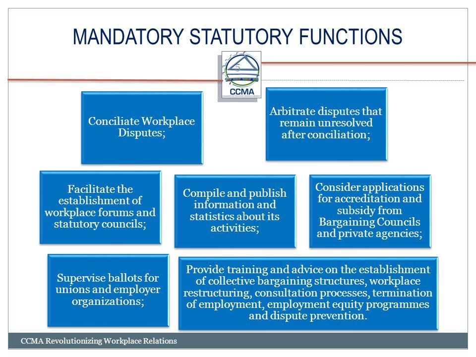 MANDATORY STATUTORY FUNCTIONS