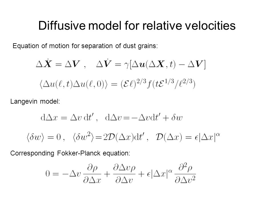 Diffusive model for relative velocities