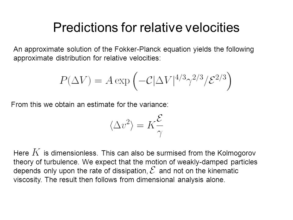 Predictions for relative velocities