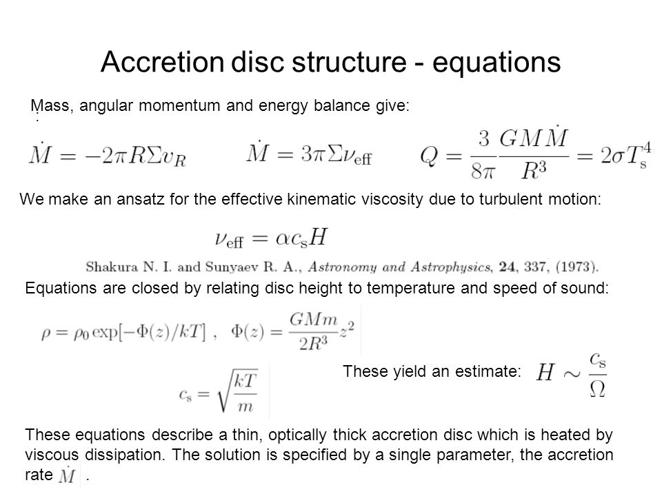 Accretion disc structure - equations