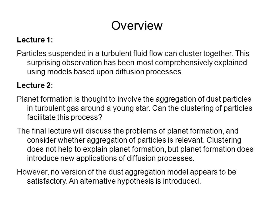 Overview Lecture 1: