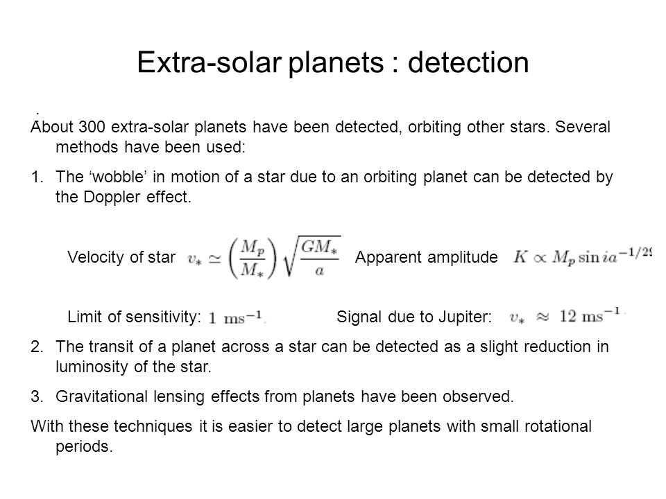 Extra-solar planets : detection