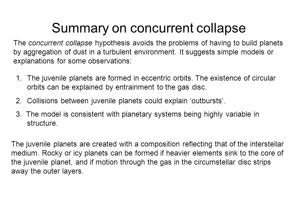Summary on concurrent collapse