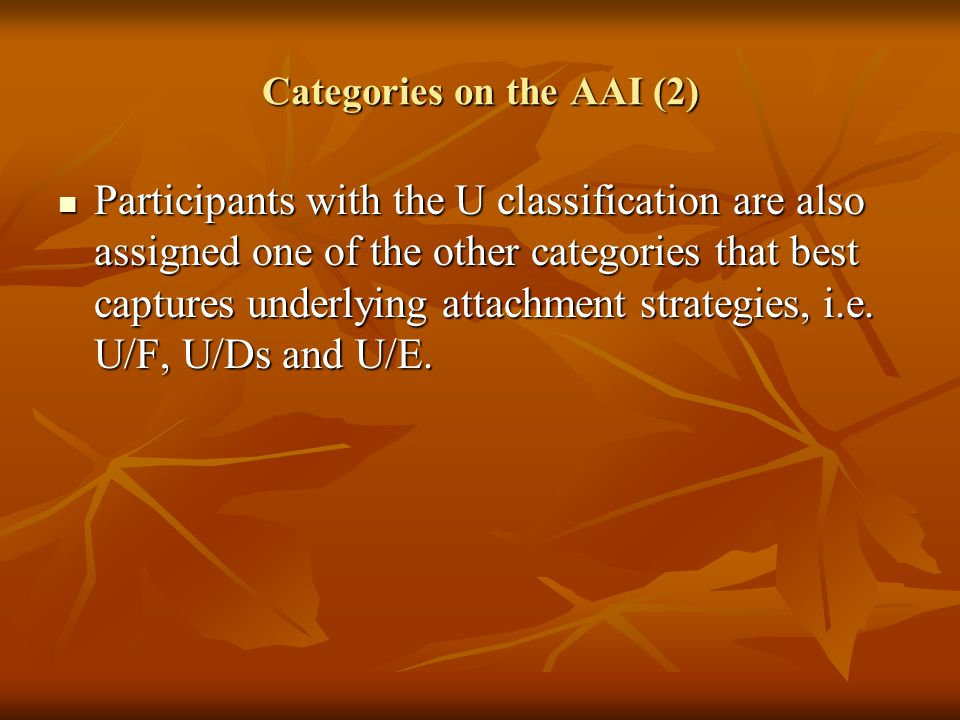 Categories on the AAI (2)