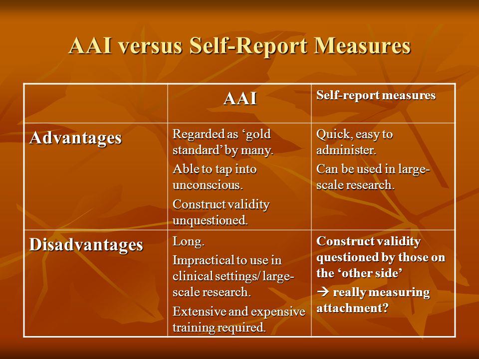 AAI versus Self-Report Measures