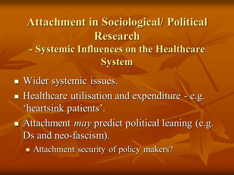 Attachment in Sociological/ Political Research - Systemic Influences on the Healthcare System