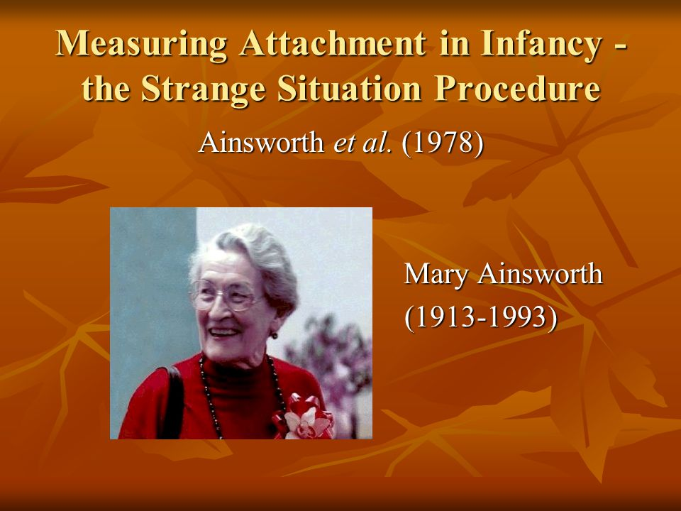 Measuring Attachment in Infancy - the Strange Situation Procedure