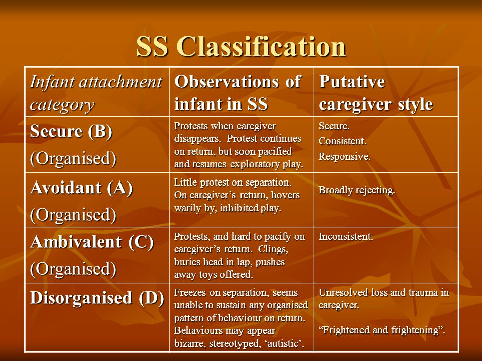 SS Classification Infant attachment category