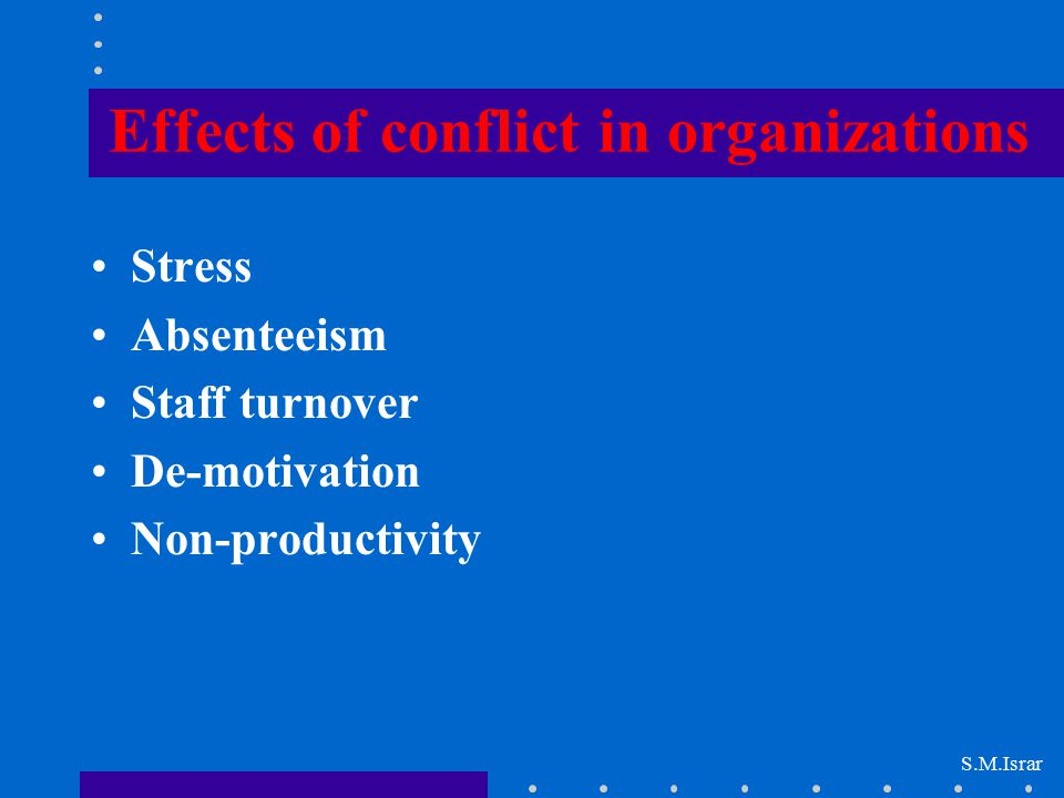 Effects of conflict in organizations