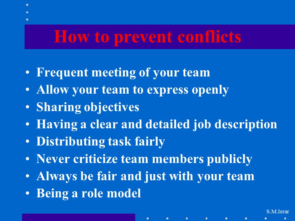 How to prevent conflicts
