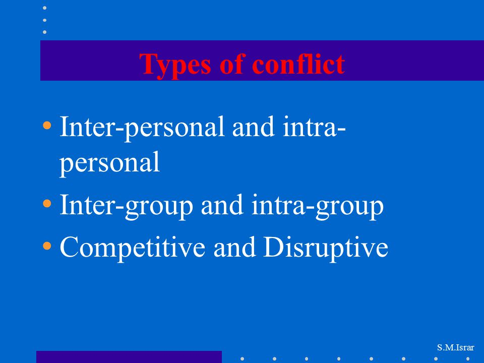 Inter-personal and intra-personal Inter-group and intra-group