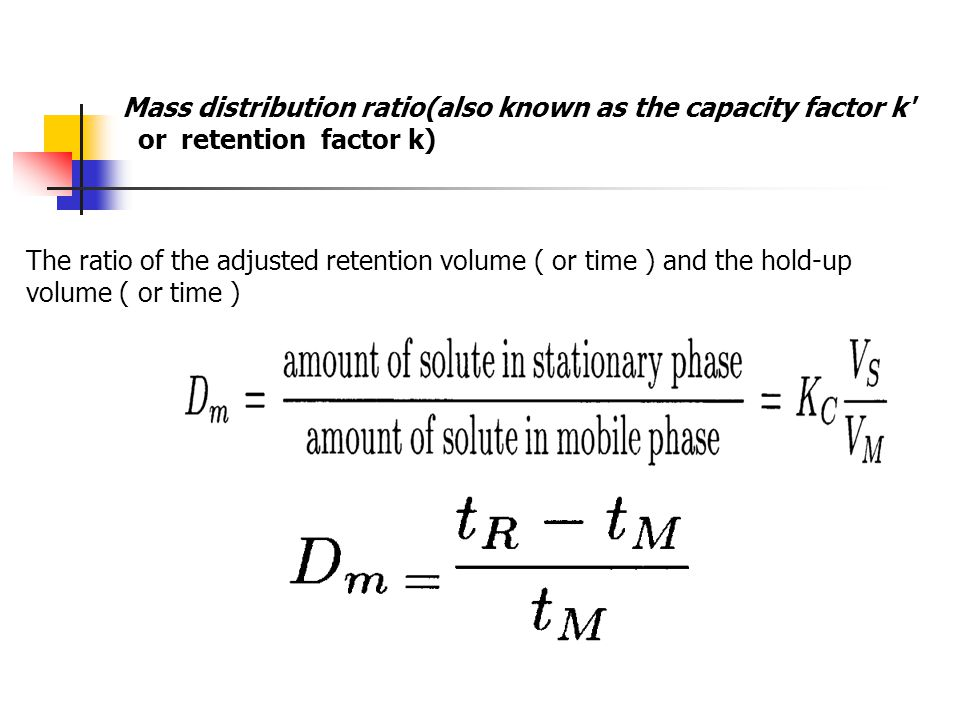 Mass distribution ratio(also known as the capacity factor k